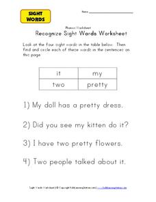 Recognize Sight Words Worksheet Worksheet