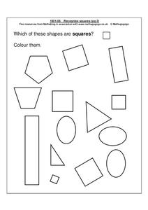 Recognize Squares Worksheet