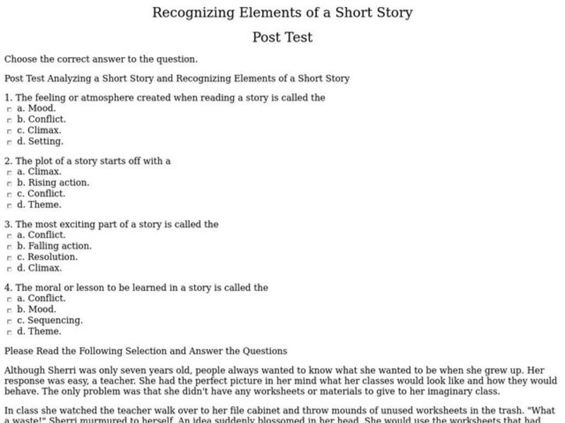 Recognizing Elements of a Short Story 4th 5th Grade Interactive – Short Story Elements Worksheet