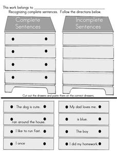 Recognizing Complete Sentences Worksheet