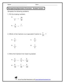 Recognizing Equivalent Fractions Worksheet