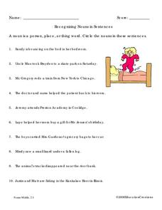 Recognizing Nouns in Sentences Worksheet