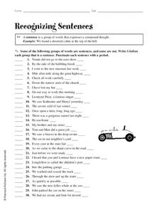 Recognizing Sentences Worksheet