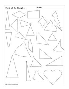 Recognizing Triangles Worksheet