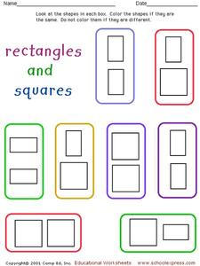 Rectangles and Squares Worksheet