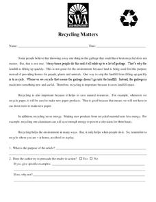 Recycling Matters Worksheet