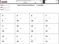 Reduce Fractions Worksheet