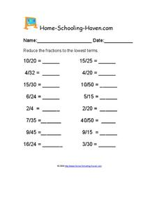 Reducing Fractions Worksheet