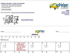 Addition - Single Digit Worksheet