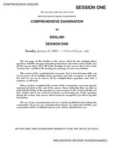 Regents High School Examination Comprehensive Examination in English Session One (2006) Lesson Plan