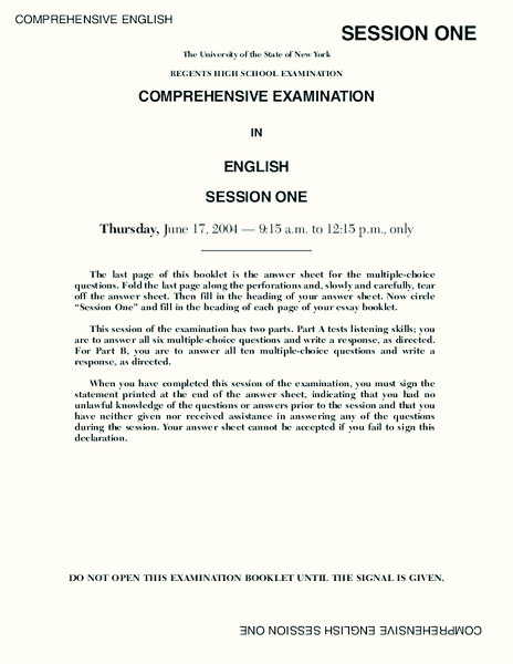 Regents High School Examination Comprehensive Examination in English Session One (2004) Lesson Plan