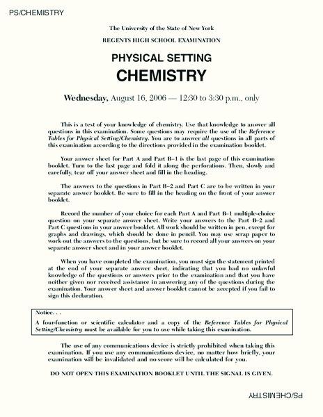 Regents High School Examination PHYSICAL SETTING CHEMISTRY 2006