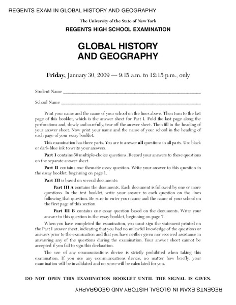 Regents high school examination global history and geography regents high school examination global history and geography 2009 10th 12th grade lesson plan lesson planet publicscrutiny Images