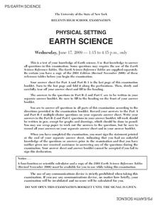 Regents High School Examination: Physical Setting Earth Science 2009 Worksheet