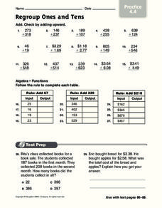 Regroup Ones and Tens Worksheet