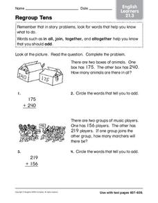 Regroup Tens: English Learners Worksheet