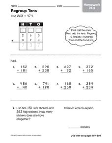 Regroup Tens: Homework Worksheet
