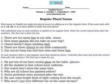 Regular Plural Nouns Worksheet