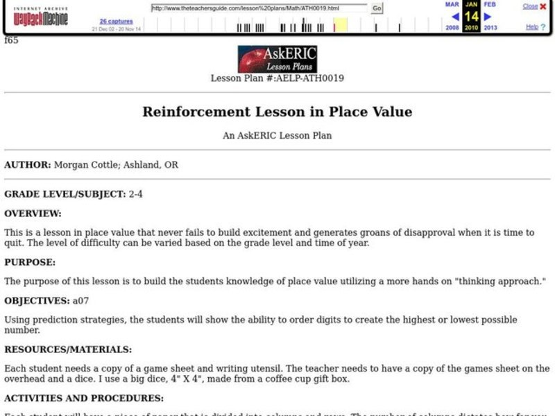 Reinforcement Lesson in Place Value Lesson Plan