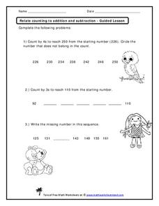 Relate Counting to Addition and Subtraction Worksheet