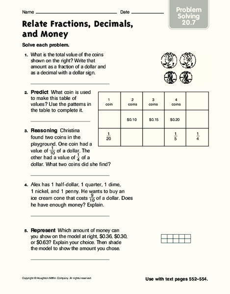 relate fractions decimals and money worksheet for 3rd 5th grade lesson planet. Black Bedroom Furniture Sets. Home Design Ideas