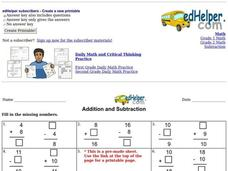 Addition and Subtraction Worksheet