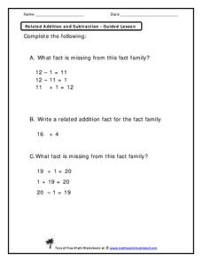 Related Addition and Subtraction Worksheet