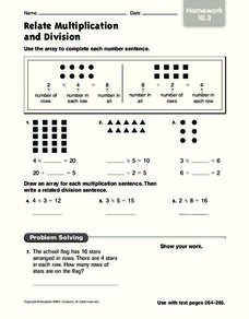 Relate Multiplication and Division: Homework Worksheet