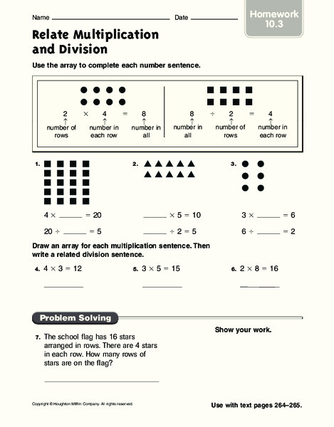 Multiplication Using Arrays Worksheet  Multiplication Practice
