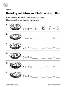 Relating Addition and Subtraction Worksheet