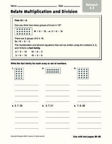 Relate Multiplication and Division: Reteach Worksheet