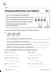 Relating Multiplication and Addition Worksheet