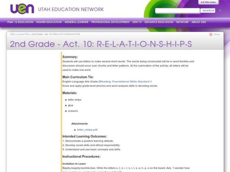 Relationships Lesson Plan