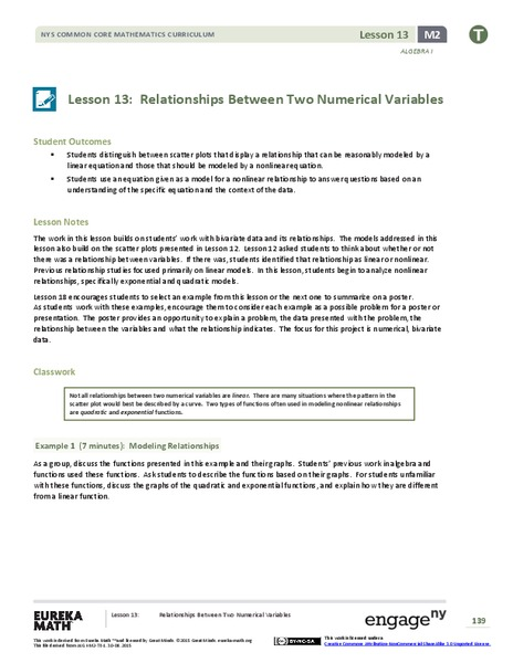 Relationships Between Two Numerical Variables Assessment