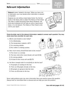 Relevant Information: English Learners Worksheet