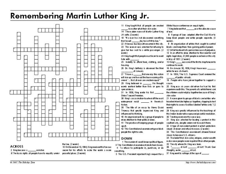 Remembering Martin Luther King Jr Worksheet For 5th 10th Grade