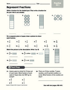 Represent Fractions Worksheet