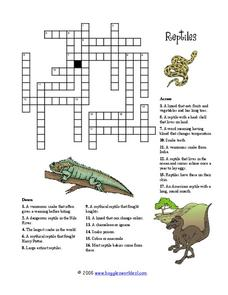 Reptile Crossword Worksheet