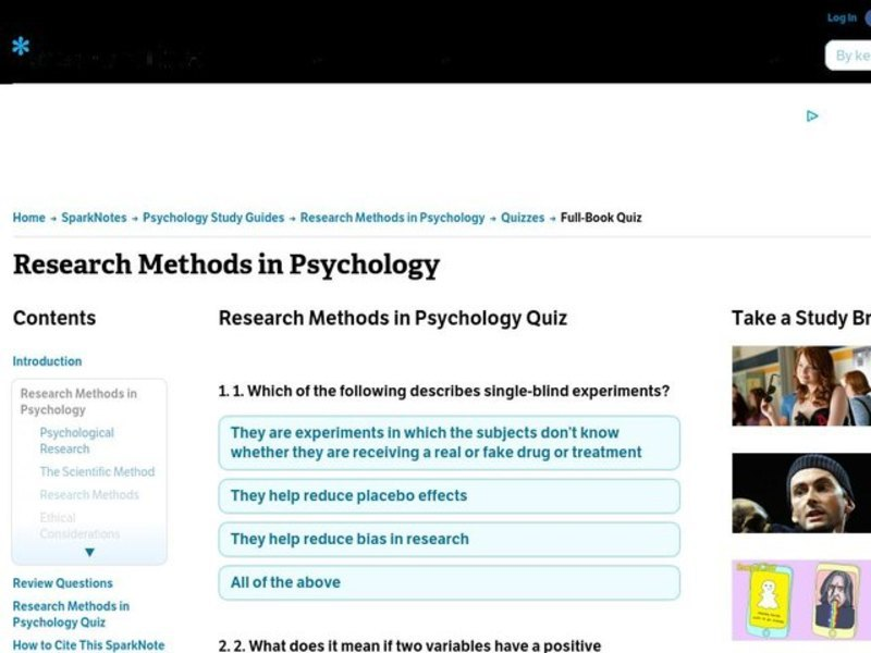 Research Methods in Psychology Worksheet