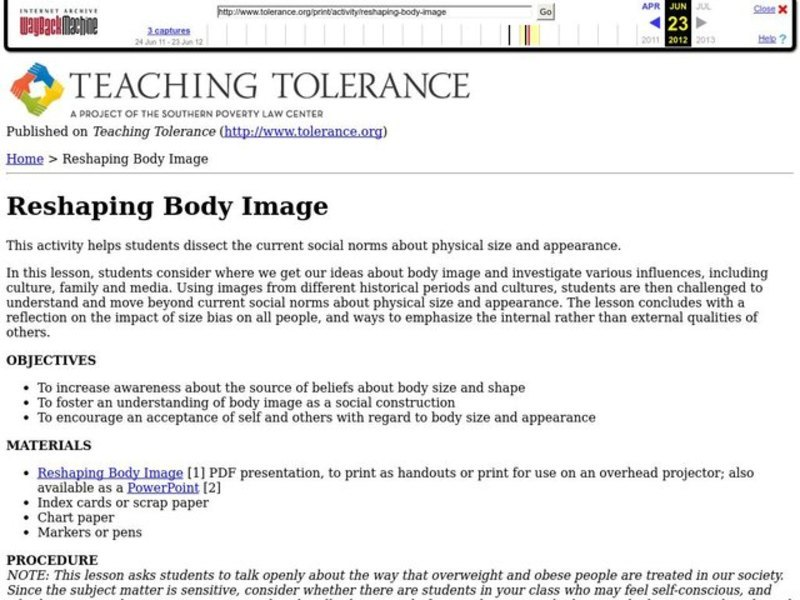 Reshaping Body Image Lesson Plan