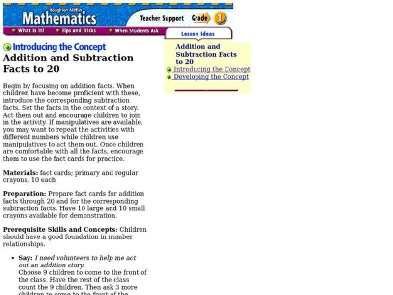 Addition and Subtraction Facts to 20 Lesson Plan