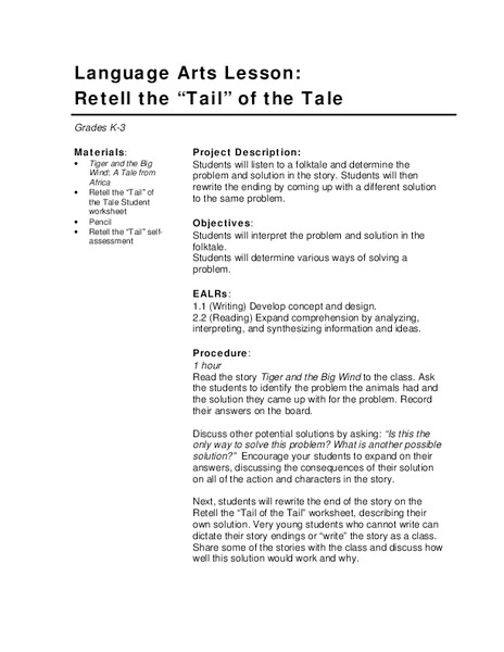 "Retell the ""tail"" of the Tale Lesson Plan"