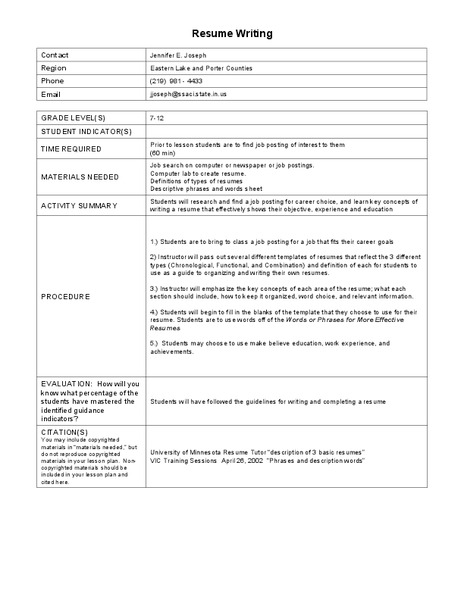 Resume Writing Lesson Plan