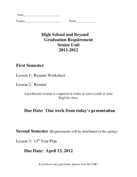 resume worksheet worksheet for 11th