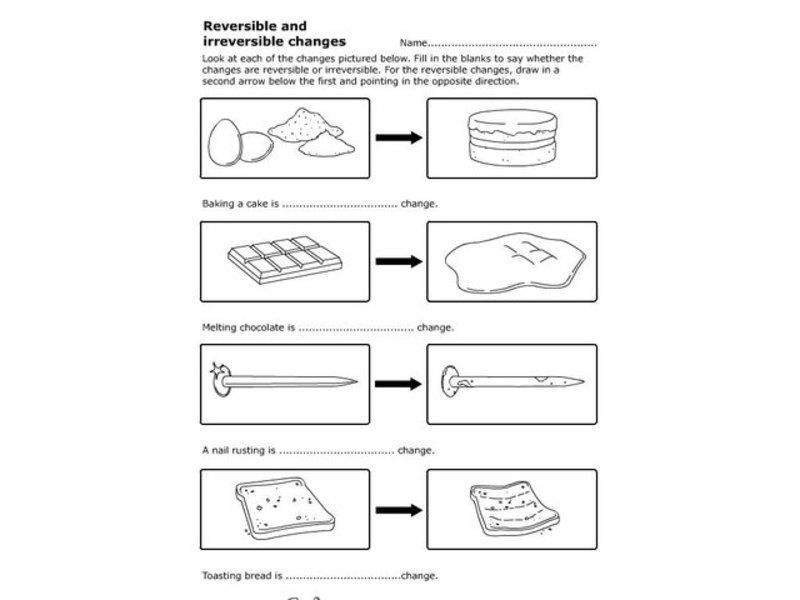 reversible and irreversible changes worksheet for 1st. Black Bedroom Furniture Sets. Home Design Ideas