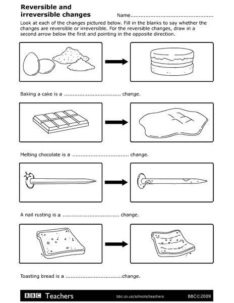 reversible and irreversible changes worksheet for 2nd. Black Bedroom Furniture Sets. Home Design Ideas