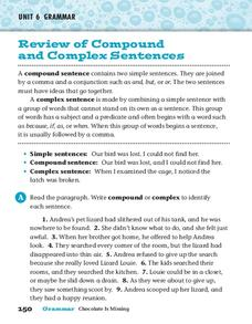 Review of Compound and Complex Sentences Worksheet