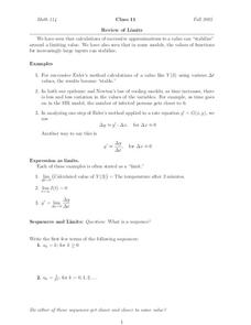 Review of Limits Worksheet