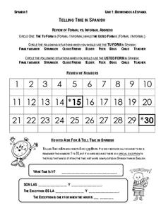 Review Telling Time in Spanish Worksheet