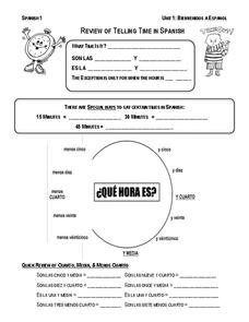 Review Telling Time in Spanish 7th - 9th Grade Worksheet   Lesson ...